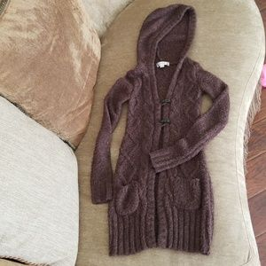 Decree brown cable knit sweater jacket